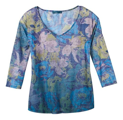 Womens prAna Botanical Long Sleeve Non-Technical Tops - Green L