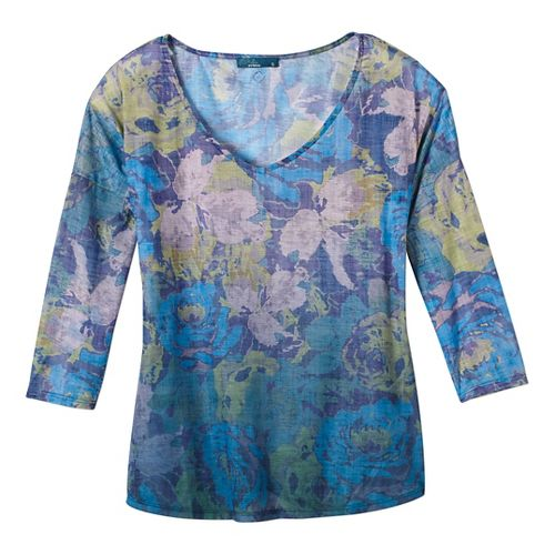 Womens prAna Botanical Long Sleeve Non-Technical Tops - Green S