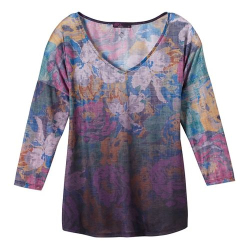 Womens prAna Botanical Long Sleeve Non-Technical Tops - Purple L