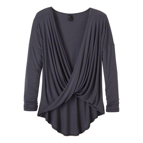 Womens prAna Cascade Long Sleeve Non-Technical Tops - Grey XL