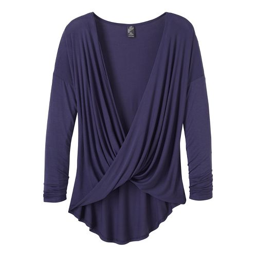 Womens prAna Cascade Long Sleeve Non-Technical Tops - Grey/Grey M