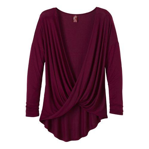 Womens prAna Cascade Long Sleeve Non-Technical Tops - Purple XL