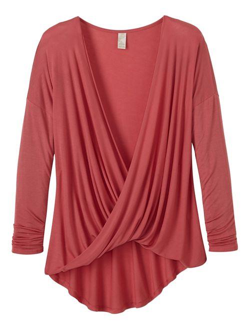 Womens prAna Cascade Long Sleeve Non-Technical Tops - Pink L