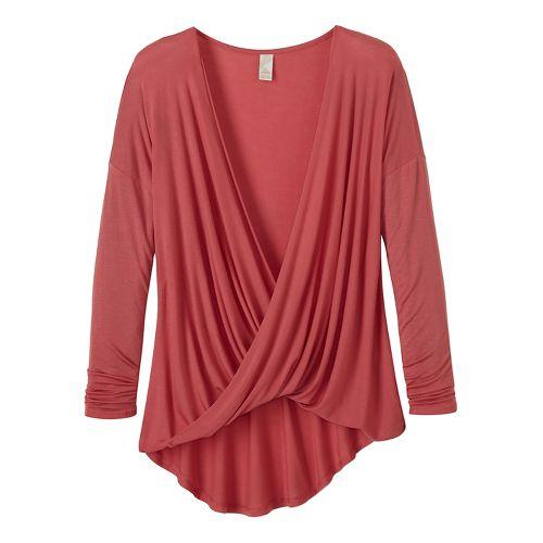 Womens prAna Cascade Long Sleeve Non-Technical Tops - Pink XL