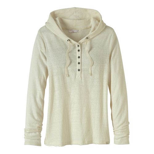 Womens prAna Devan Henley Long Sleeve Non-Technical Tops - White L
