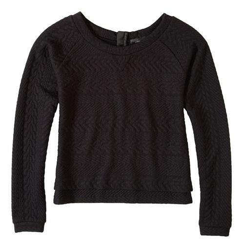 Womens prAna Dimension Crop Long Sleeve Non-Technical Tops - Black XL