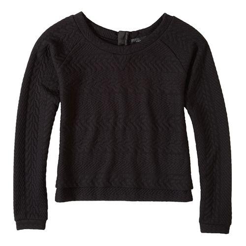 Womens prAna Dimension Crop Long Sleeve Non-Technical Tops - Black L