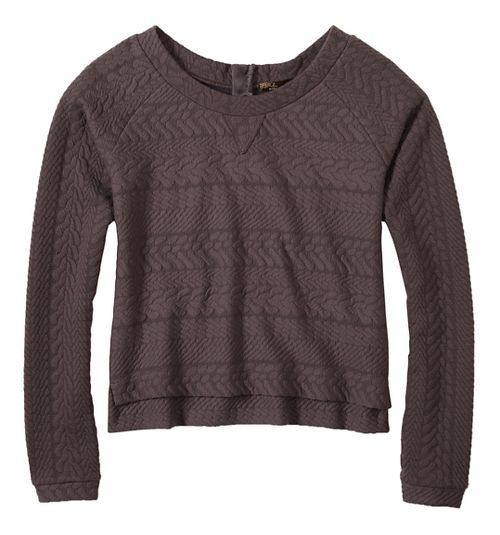 Womens prAna Dimension Crop Long Sleeve Non-Technical Tops - Grey XS