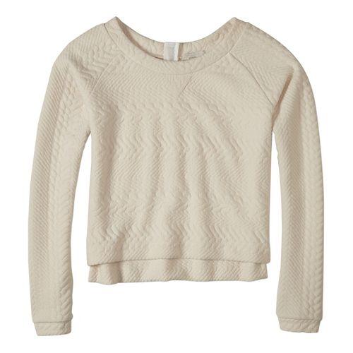 Womens prAna Dimension Crop Long Sleeve Non-Technical Tops - White XL