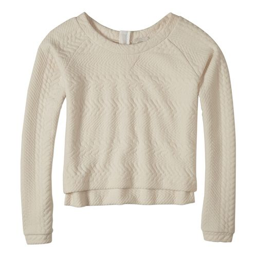 Womens prAna Dimension Crop Long Sleeve Non-Technical Tops - White XS
