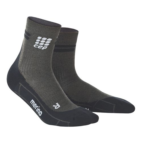 Mens CEP Dynamic+ Run Merino Short Sock Injury Recovery - Anthracite/Black L
