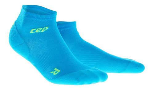 Mens CEP Dynamic+ Run Ultralight Low-Cut Sock Injury Recovery - Electric Blue/Green XL