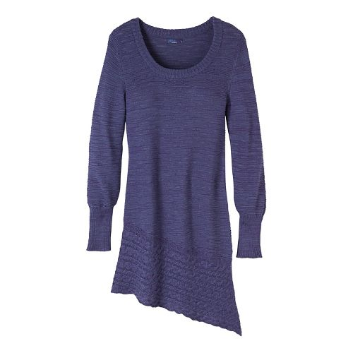 Womens prAna Felicia Tunic Long Sleeve Non-Technical Tops - Grey/Grey L