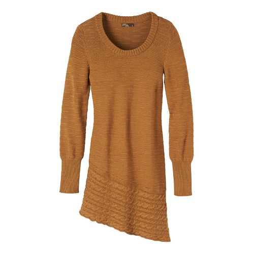 Womens prAna Felicia Tunic Long Sleeve Non-Technical Tops - Brown S