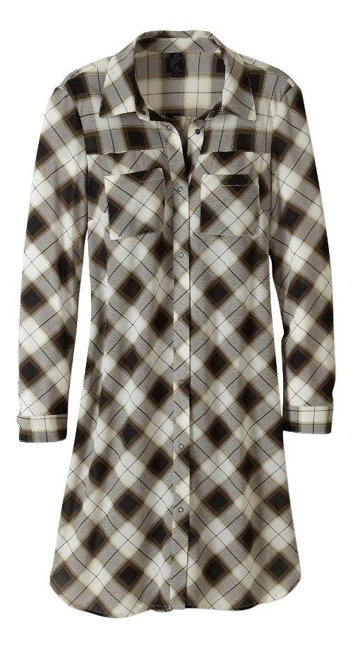 Womens prAna Flint Maxi Long Sleeve Non-Technical Tops - Black S