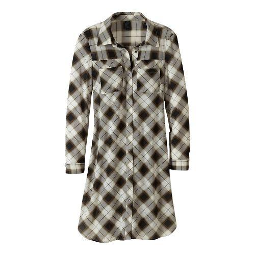 Womens prAna Flint Maxi Long Sleeve Non-Technical Tops - Black XS