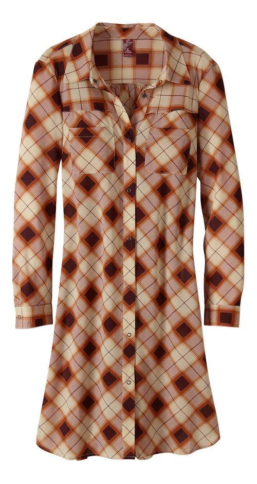 Womens prAna Flint Maxi Long Sleeve Non-Technical Tops - Brown XL
