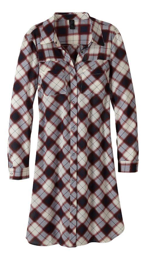 Womens prAna Flint Maxi Long Sleeve Non-Technical Tops - Blue M