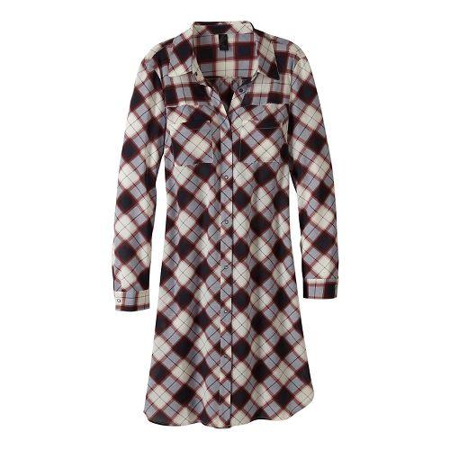 Womens prAna Flint Maxi Long Sleeve Non-Technical Tops - Blue L