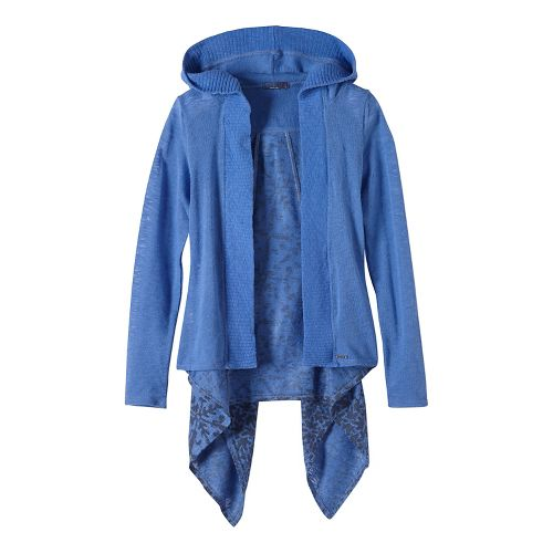 Womens prAna Hilo Duster Long Sleeve Non-Technical Tops - Blue L