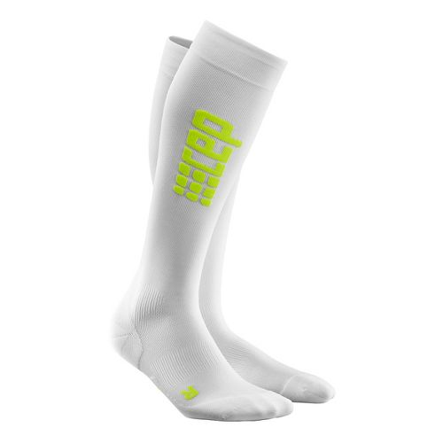 Mens CEP Progressive+ Ultralight Run Sock 2.0 Injury Recovery - White/Green M
