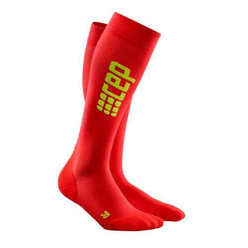 Mens CEP Progressive+ Ultralight Run Sock 2.0 Injury Recovery - Red/Green L