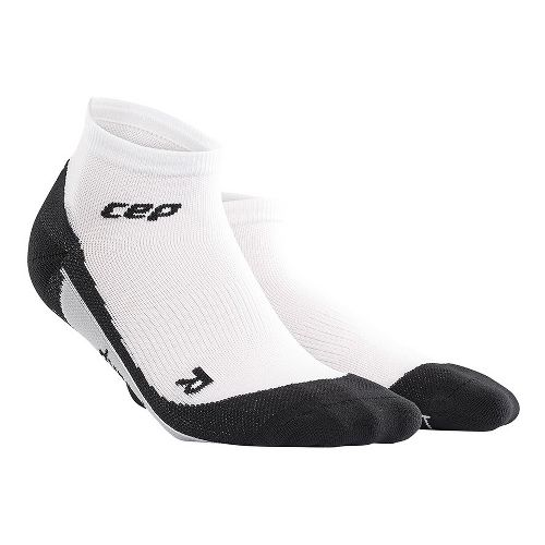 Womens CEP Dynamic+ Run Low-Cut Sock Injury Recovery - White/Black L