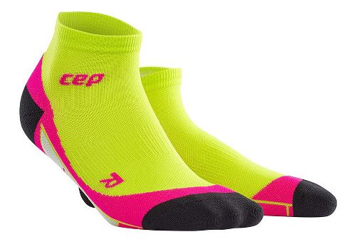 Womens CEP Dynamic+ Run Low-Cut Sock Injury Recovery - Lime/Pink S