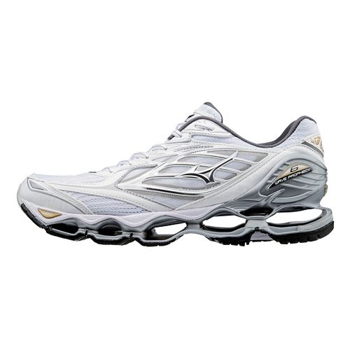 Mens Mizuno Wave Prophecy 6 Running Shoe - White/Gold 9.5
