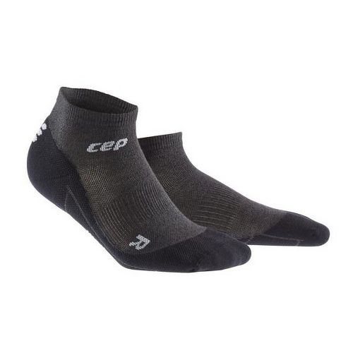 Womens CEP Dynamic+ Run Merino Low-Cut Sock Injury Recovery - Anthracite/Black L