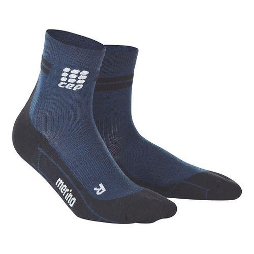 Womens CEP Dynamic+ Run Merino Short Sock Injury Recovery - Navy/Black L
