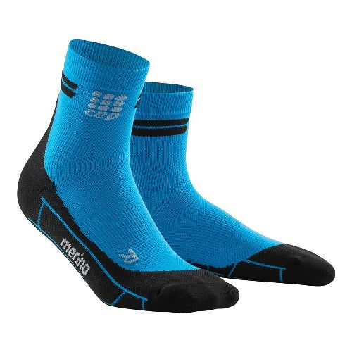 Womens CEP Dynamic+ Run Merino Short Sock Injury Recovery - Electric Blue/Black S
