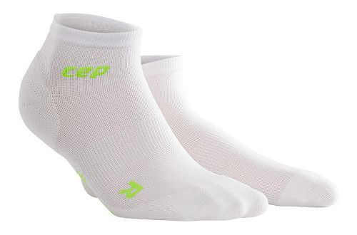 Womens CEP Dynamic+ Run Ultralight Low-Cut Sock Injury Recovery - White/Green S