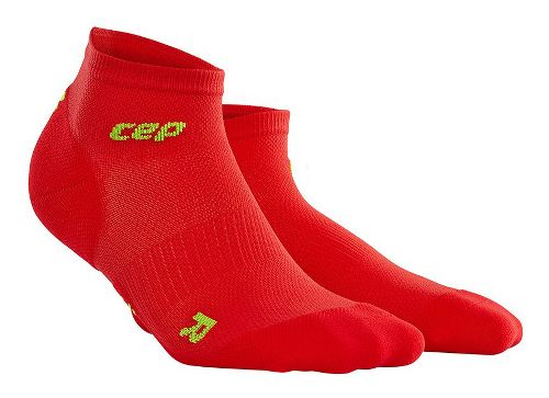 Womens CEP Dynamic+ Run Ultralight Low-Cut Sock Injury Recovery - Red/Green L