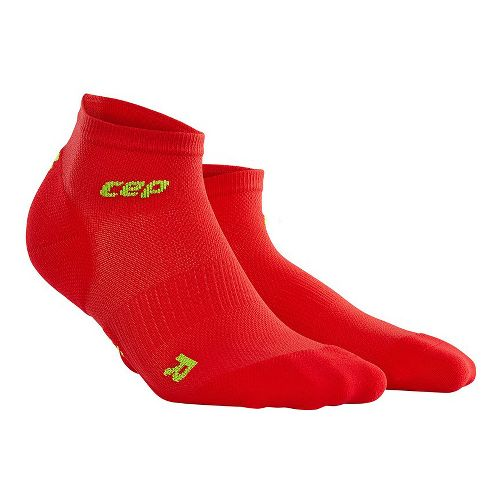 Womens CEP Dynamic+ Run Ultralight Low-Cut Sock Injury Recovery - Red/Green M