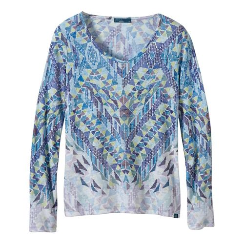 Womens prAna Ravena Long Sleeve Non-Technical Tops - Blue S