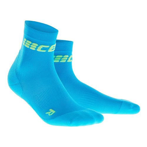 Womens CEP Dynamic+ Run Ultralight Short Sock Injury Recovery - Electric Blue/Green L