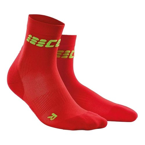 Womens CEP Dynamic+ Run Ultralight Short Sock Injury Recovery - Red/Green M