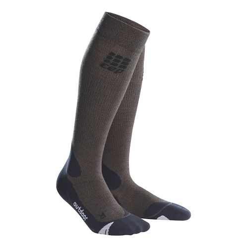 Womens CEP Progressive+ Outdoor Merino Sock Injury Recovery - Brown/Black M