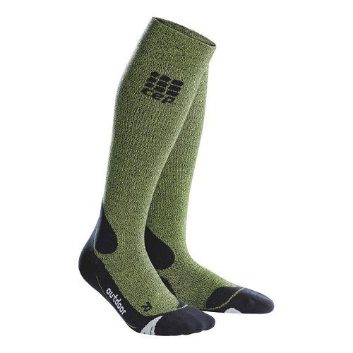 Womens CEP Progressive+ Outdoor Merino Sock Injury Recovery - Green/Black M