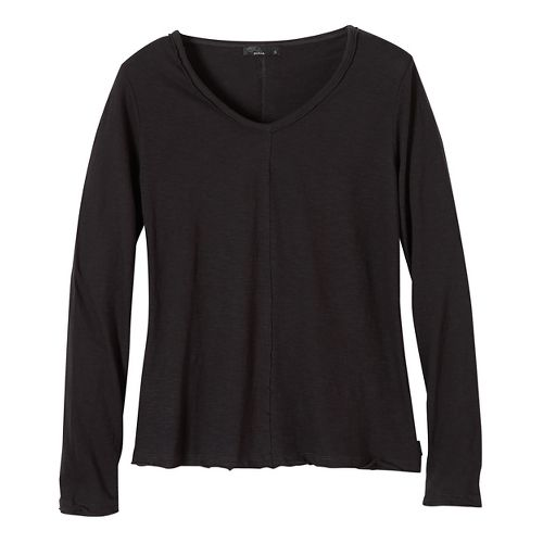 Womens prAna Romina Long Sleeve Non-Technical Tops - Black L