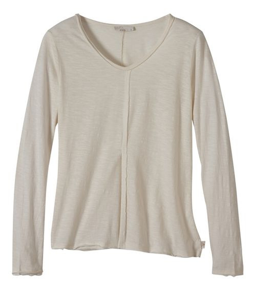 Womens prAna Romina Long Sleeve Non-Technical Tops - White L