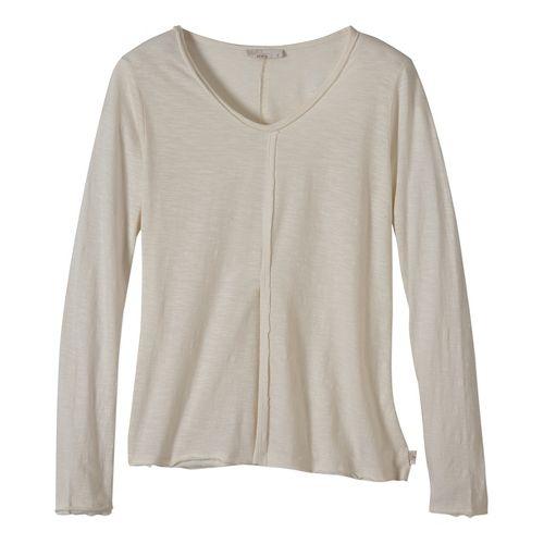 Womens prAna Romina Long Sleeve Non-Technical Tops - White XL