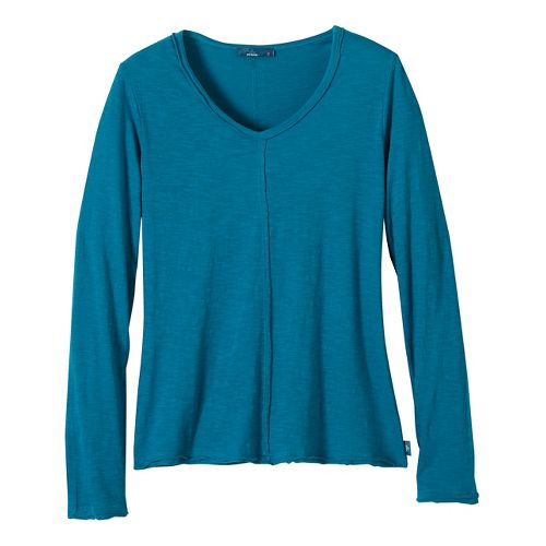 Womens prAna Romina Long Sleeve Non-Technical Tops - Green/Green L