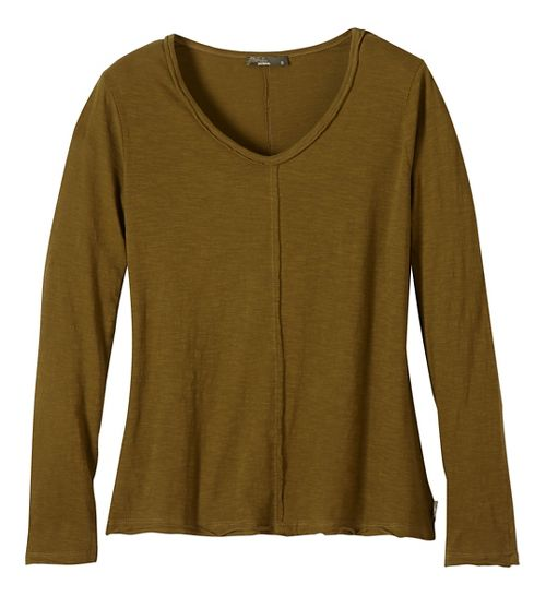 Womens prAna Romina Long Sleeve Non-Technical Tops - Green/Green XS