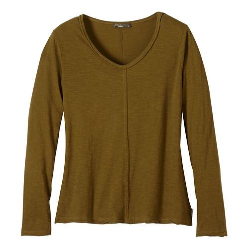 Womens prAna Romina Long Sleeve Non-Technical Tops - Green/Green XL