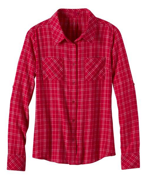 Womens prAna Salinda Long Sleeve Non-Technical Tops - Red XL