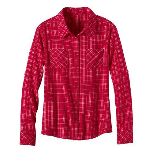 Womens prAna Salinda Long Sleeve Non-Technical Tops - Red L