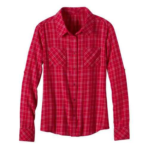 Womens prAna Salinda Long Sleeve Non-Technical Tops - Red XL