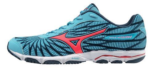 Womens Mizuno Wave Hitogami 4 Running Shoe - Light Blue/Pink 7.5